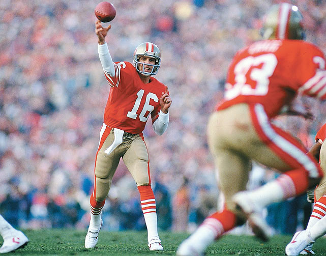 "The master of late-game dramatics, the Niners QB came from humble beginnings as a third-round pick in the 1979 draft. He went on to breathe his ""Montana Magic"" into 49ers teams until 1992, leading them to wins in Super Bowls XVI, XIX, XXIII and XXIV along the way and picking up 39 games with 300 yards and two NFL passing titles in the process."