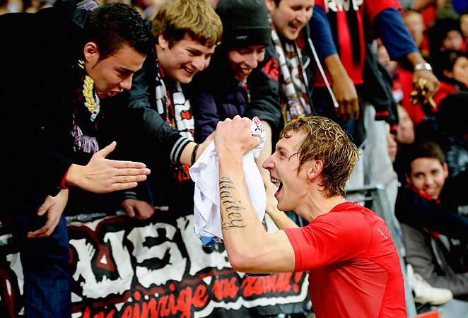 Stefan Kiessling of Leverkusen leads the Bundesliga with 13 goals this season.
