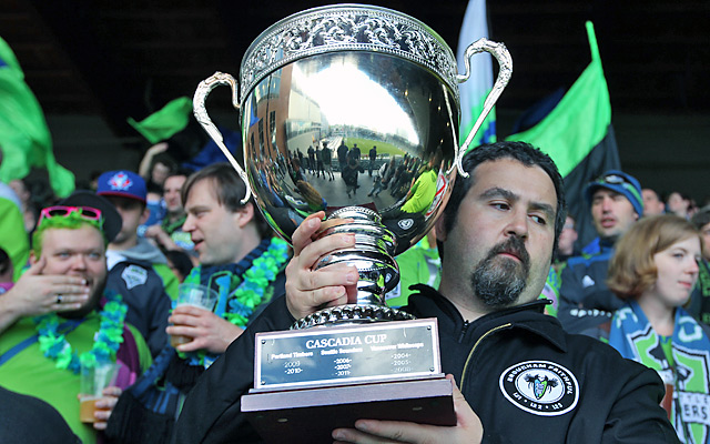 Seattle Sounders fans display the Cascadia Cup before a match with the Portland Timbers in June, 2012.