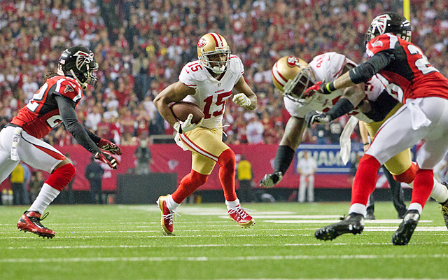 Michael Crabtree had 57 receiving yards in the 49ers' 28-24 win over the Falcons in the NFC title game.