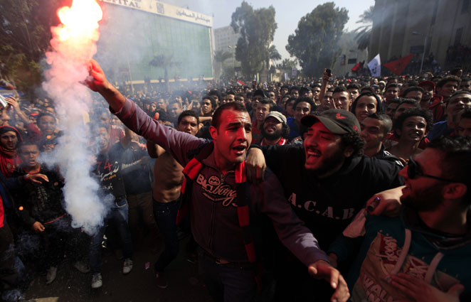 Egyptian police fired tear gas, bird shot and other live ammunition into the rioting mob.