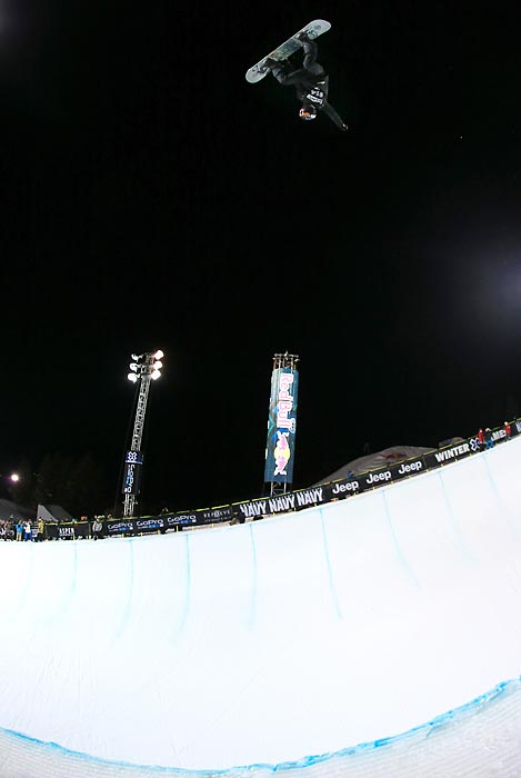 White does a backside air during a practice run on the SuperPipe before his gold-medal performance. He posted the two highest scores of the competition, a 95 and 98.