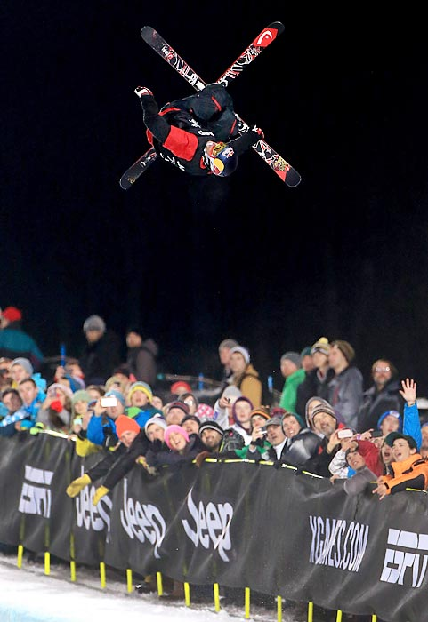 Simon Dumont spins high above the crowd at the ski SuperPipe final of the Winter X Games. Dumont took sixth at the competition, while David Wise won the gold medal.