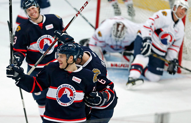 Ryan Hamilton scored the final three goals to record the seventh hat trick in AHL All-Star Game history.