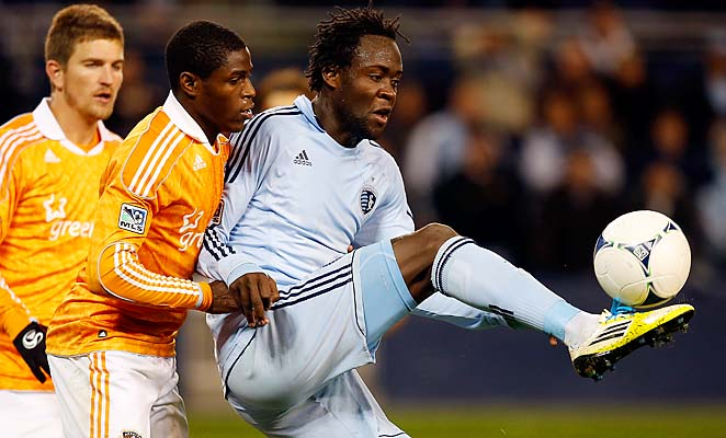 Kei Kamara (right) scored a team-leading 11 goals for Sporting Kansas City last season.