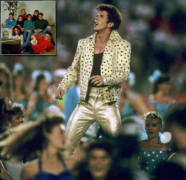 Despite featuring an Elvis impersonator named Elvis Presto, this halftime act utilized zero of the King of Rock and Roll's songs. Presto, in fully sequined glory, did however perform a magic trick, and the show incorporated some earrrrrly 3-D technology.
