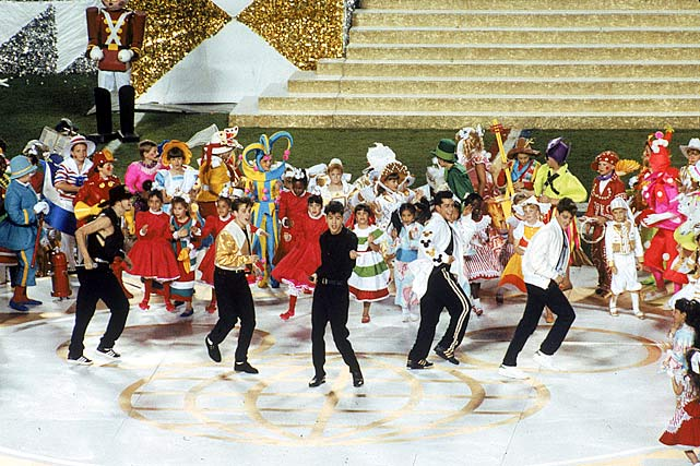 "ABC chose to air a special ABC News report with Peter Jennings on the Gulf War rather than televise this halftime show live, and with good reason. Another awkward Disney attempt to pitch its products and honor the military, this halftime show combined New Kids on the Block with thousands of kids singing ""It's a Small World,"" complete with loud costumes and foam guitars."