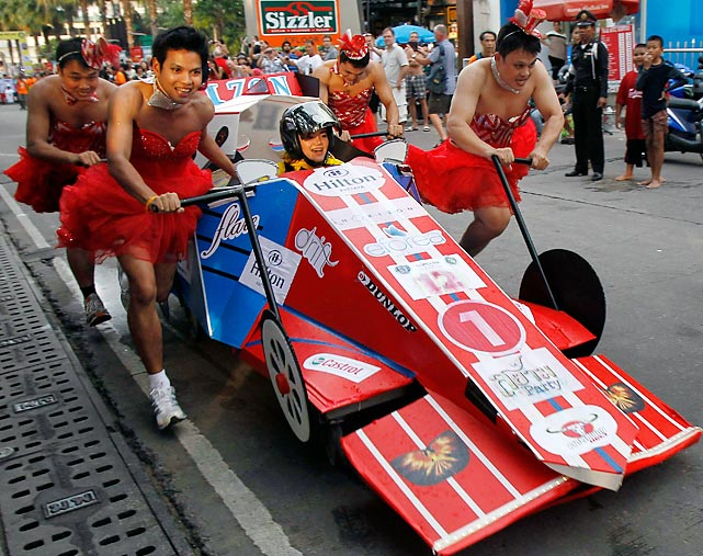 Road-tested at the Thai resort of Pattaya: a cutting edge Formula One hospital bed capable of reaching speeds of up to 200 miles per hour. And each one comes with its own attractive pit crew, as you can plainly see.