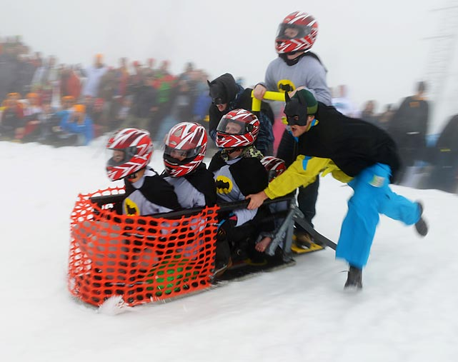 A team from the University of British Columbia tried to cement its place in history at the 39th annual event at Mt. Seymour in North Vancouver, where more than 400 engineering students from across Canada competed with their homemade toboggans that must have a concrete running surface. Besides the races, valuable prizes were awarded for best team spirit (brandy, we presume) and best overall team.