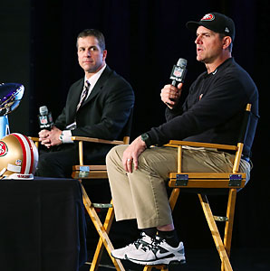 John Harbaugh and Jim Harbaugh held a joint news conference before they face each other for the Super Bowl trophy on Sunday.