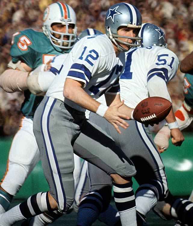 The QB struck back in '72, with Staubach efficiently throwing two touchdowns in just 119 passing yards. Miami couldn't keep up and was hammered 24-3.