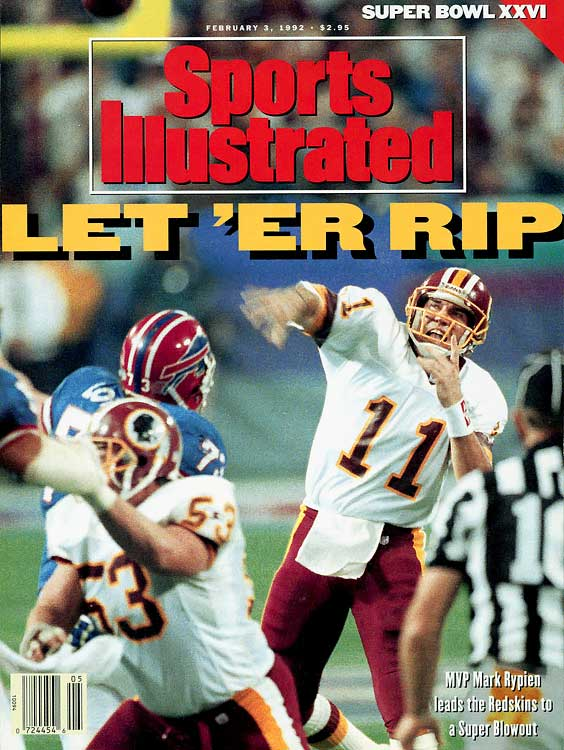 Rypien completed 18-of-33 passes for 292 yards and added two touchdowns to lead the Redskins to their third Super Bowl title. After struggling in a scoreless first quarter, Washington took a 17-0 lead into halftime and never looked back.