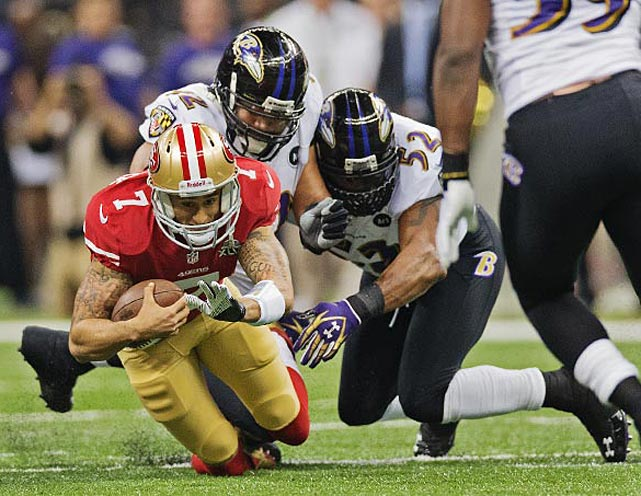 San Francisco fans who were counting on Colin Kaepernick hurting the Ravens with his running were disappointed at the half. He played a much better second half and had the 49ers within a play of taking the lead in the fourth quarter.