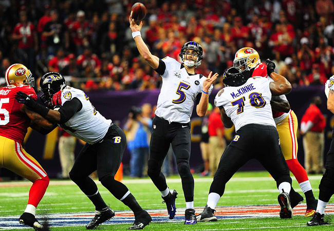 After three first half scores, Joe Flacco is just the third quarterback to throw for 11 touchdowns in a single postseason.