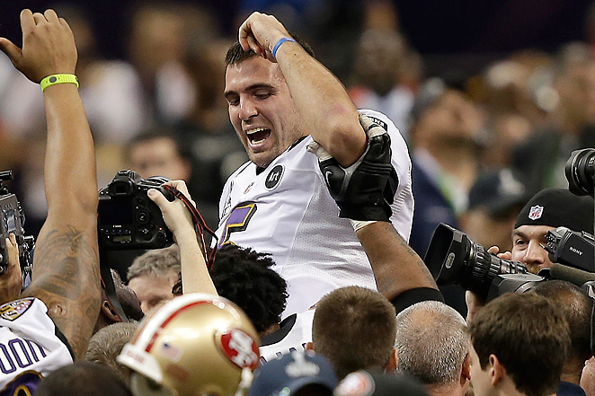 Joe Flacco, the Super Bowl MVP, threw 11 TDs and 0 INTs in the playoffs, tying Joe Montana's record.