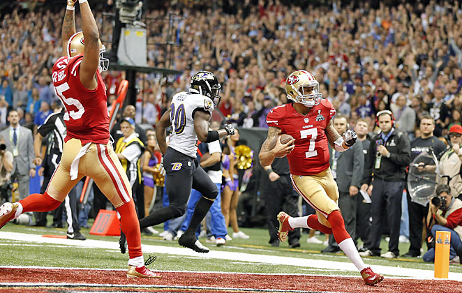 Colin Kaepernick's 15-yard scoring run in the fourth quarter pulled the 49ers to within 31-29.