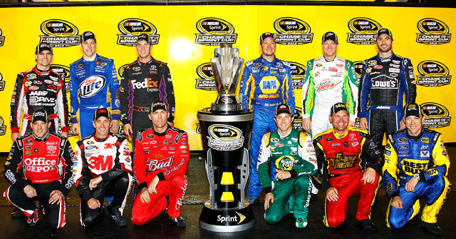 The 12 drivers who qualified for NASCAR's Chase in 2012 pose with the Sprint Cup trophy.