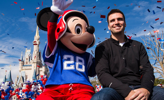 Before appearing on 'Late Show,' Joe Flacco rode in a parade with Mickey Mouse at Disney World.