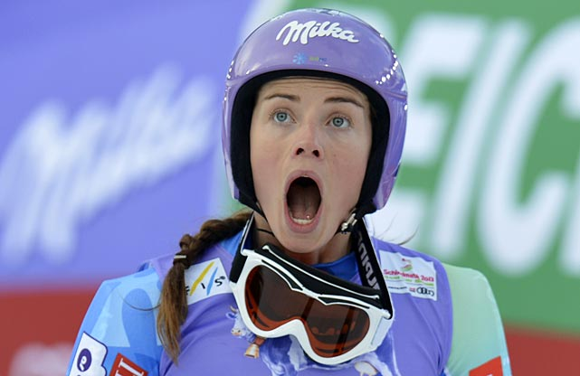 Tina Maze of Slovenia reacts after seeing Lindsey Vonn crash.