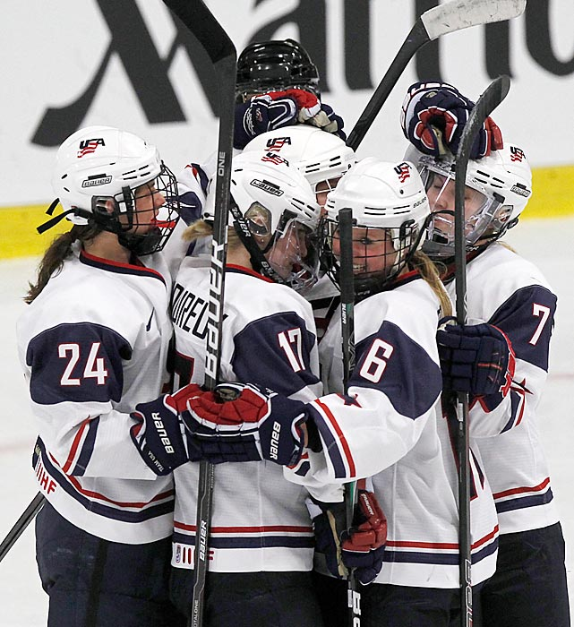 Twin sisters Jocelyne (17) and Monique (7) became the first set of twins to ever play women's ice hockey in the Olympics, when they helped the U.S. team to the silver medal in Vancouver.