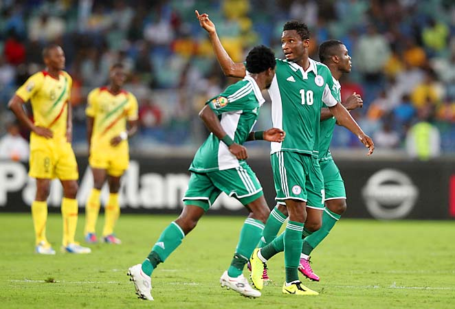 John Obi Mikel of Nigeria celebrates as Nigeria advanced to the Africa Cup of Nations final.