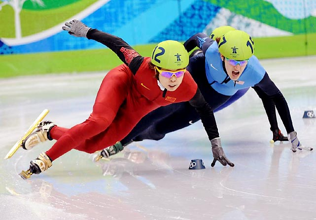 Wang nearly swept the short track speedskating events at the 2010 Olympics, but fell in the 1,500 meter race and failed to finish.