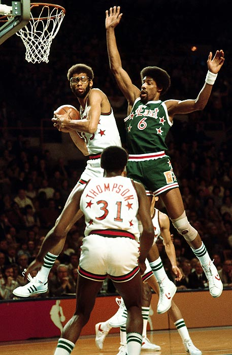 The first All-Star Game since the NBA's merger with the ABA featured an influx of talent -- nine players in total -- from the league with the red, white and blue ball and the three-point line. Julius Erving, the three-time MVP of the ABA, led the group of new NBA stars with 30 points and 12 rebounds. He was named All-Star Game MVP in his Eastern Conference team's 125-124 loss to the West.
