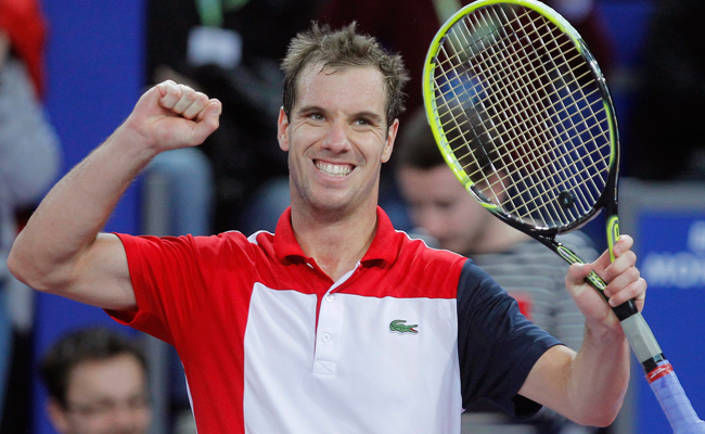 Richard Gasquet had eight aces in defeating Jarkko Nieminen 6-3, 3-6, 6-2.