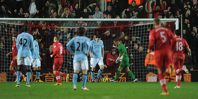 Manchester City players respond after surrendering a goal. The Sky Blues trailed for over 80 minutes.