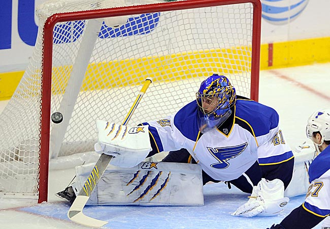 Halak was forced to miss time in the Blues' net due to a suspected ankle injury.