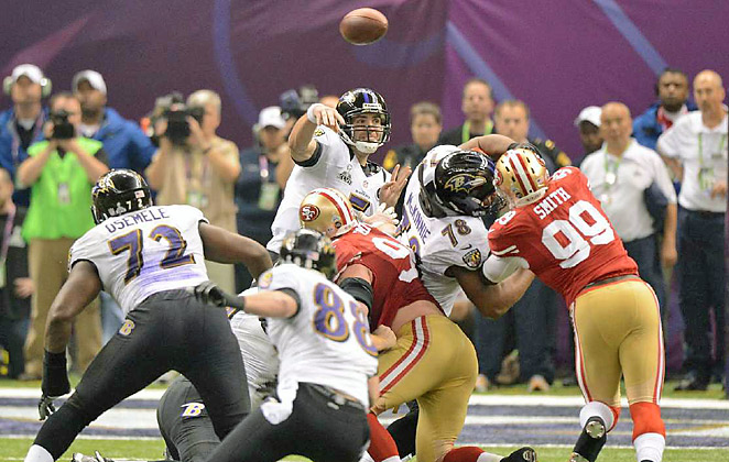 Joe Flacco threw for three touchdowns in the Ravens' 34-31 win over the 49ers in  Super Bowl XLVII.