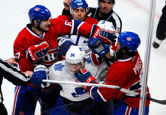 Toronto's Mikhail Grabovski (84) got into a scrum with three Canadiens, including Max Pacioretty (67).