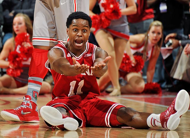 Indiana guard Kevin Ferrell gesticulates in opposition to a blocking foul called on him in the Hoosiers' Feb. 10 meeting with Ohio State. With Victor Oladipo, Cody Zeller and Christian Watford all scoring 20 or more points, Indiana picked up a key conference road victory, 81-68.