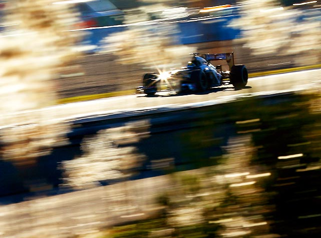 Esteban Gutierrez of the Sauber F1 team races during Formula One winter testing in Jerez de la Frontera, Spain on Feb. 8.