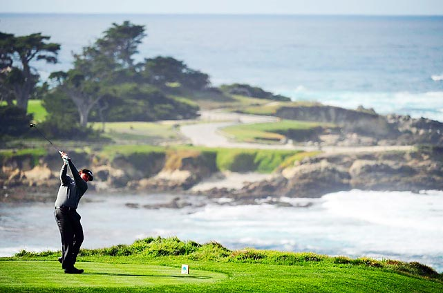 Phil Mickelson reaches back from a shot during his second round at the AT&T Pebble Beach National Pro-Am. Unable to replicate his astounding performance at the Waste Management Phoenix Open, Mickelson settled for a tie for 60th at one-under, 18 shots behind tournament champion Brandt Snedeker.