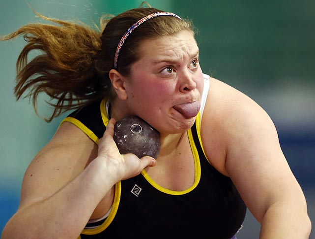 Sandra Miseikyte competes in the shot put final during Day 1 of the British Athletics European Trials and United Kingdom Championship in Sheffield, England. Rachel Wallader won the competition with a throw of 16.19 meters.