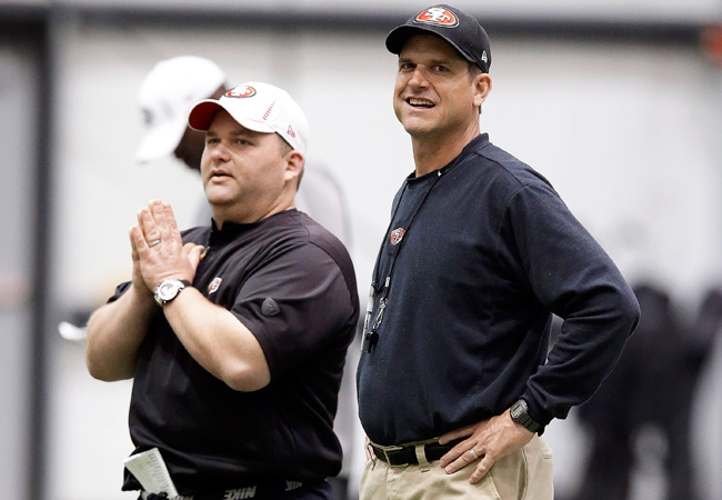 San Francisco offensive coordinator Greg Roman, left, won't dwell on the outcome of Super Bowl XLVII.