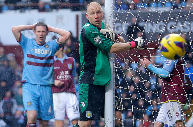 Brad Guzan recorded seven saves in net for Aston Villa in its 2-1 win against West Ham.