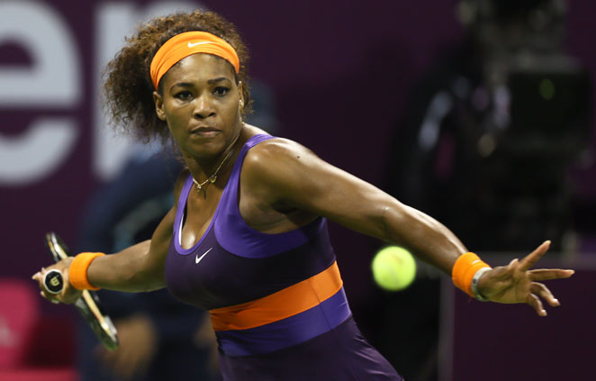 Serena Williams beat Russian qualifier Daria Gavrilova to move into the third round of the Qatar Open.