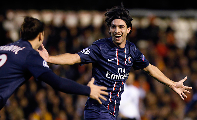 Javier Pastore celebrates with Zlatan Ibrahimovic after scoring PSG's second goal of the afternoon.