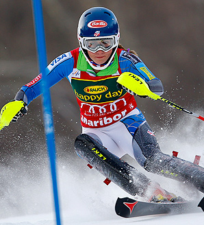 Mikaela Shiffrin matched Annemarie Moser-Proell's record when she won her third World Cup race aged 17 years, 308 days.