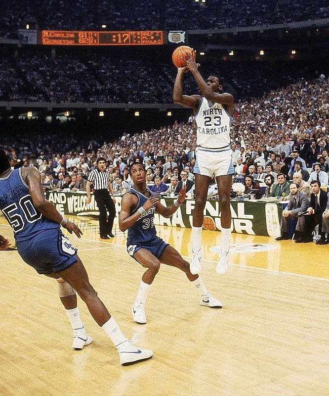 Jordan hits the game-winning jumper to beat Georgetown in the 1982 NCAA Championship game. Jordan, ACC Freshman of the Year, propelled North Carolina to a national title by nailing a jumper with 17 seconds remaining, putting the Tar Heels up for good 63-62. Jordan had 16 points in the game.