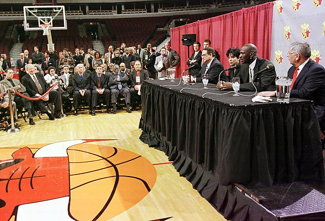 Jordan walks away from the game of basketball for a second time in January 1999 amid an NBA lockout. At the announcement Jordan said he was 99.9 percent sure he would never play again.