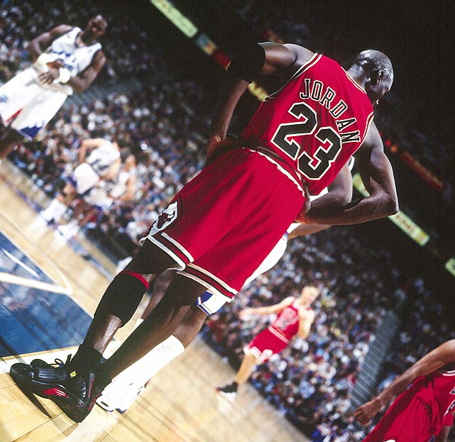 Jordan stands on the block during Game 6 of the 1998 NBA Finals. Jordan dropped 45 points in the game to rally the Bulls to a series-clinching victory.