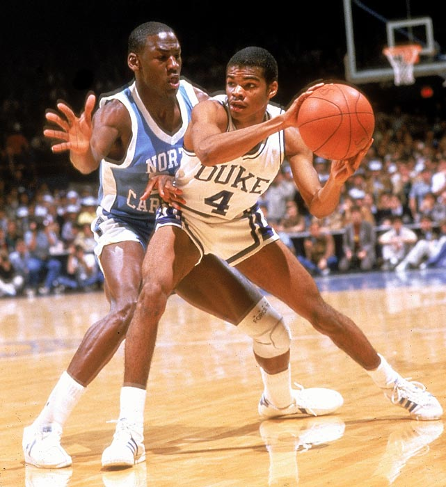 Jordan plays aggressive defense against Duke's Tommy Amaker in a 1984 ACC Tournament semifinal. North Carolina entered the NCAA Tournament ranked No. 1 in the nation, but Indiana upset the Tar Heels in the Sweet 16.
