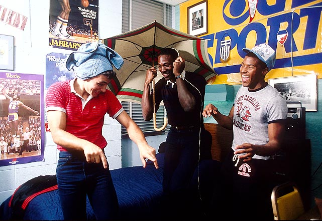 Jordan dances to Lionel Richie's <italics>All Night Long</italics> in his dorm room with high school basketball teammates David Bridges and Derek Betts in November 1983. North Carolina entered the 1983-84 season ranked No. 1 in the nation, earning Jordan his first SI cover appearance and photo shoot.