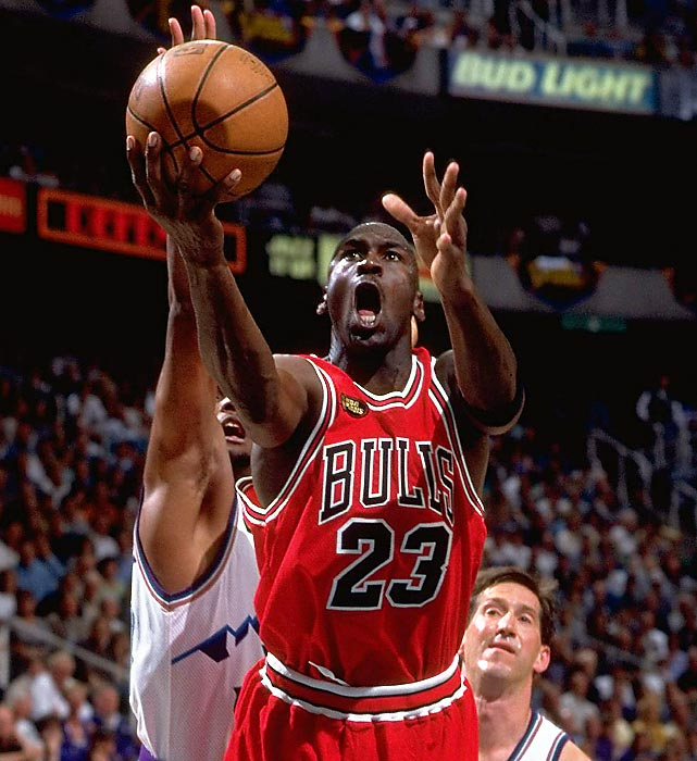 Jordan drives to the hoop against Utah in Game 1 on the 1998 NBA Finals. The Bulls dropped the first game of the series despite 33 points from Jordan, but rallied to win the series in six games.