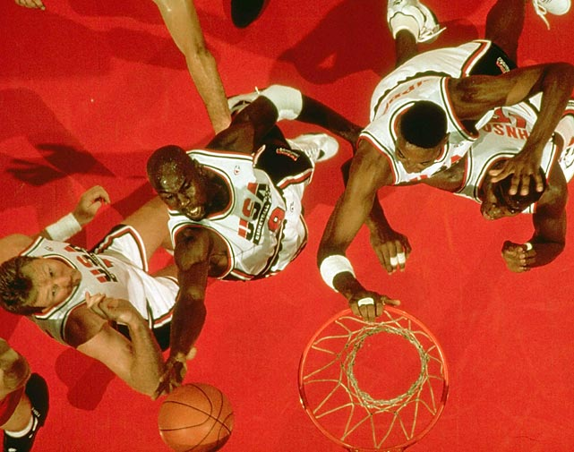 Jordan reaches for a rebound in the gold-medal game at the 1992 Summer Olympics. Just like every other team the Dream Team faced, Croatia was no match for Team USA, falling 117-85. Jordan scored 22 points to help win his second Olympic gold medal.
