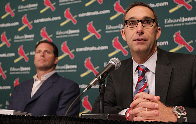 Mike Matheny (left) and John Mozeliak helped the Cardinals reach the NLCS last season.