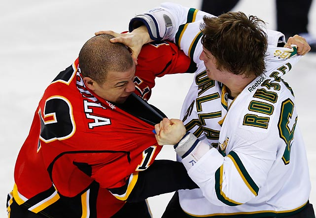 The Dallas Stars winger, who apparently fancies himself an amateur phrenologist, reads the bumps on Jarome Iginla's head -- a couple of which he raised during their second-period fight in Calgary -- and confidently predicts that the longtime Flames captain will be traded before the April 3 deadline.